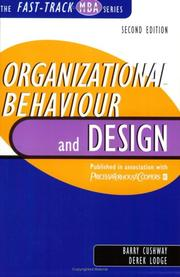 Cover of: Organizational Behaviour and Design (The Fast Track MBA Series) by Barry Cushway