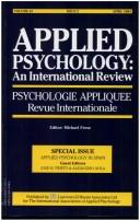 Cover of: APPLIED PSYCHOLOGY IN SPAIN (Vol. 43, Issue 2, April 1994) | Prieto/Avi