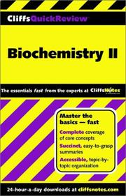Cover of: Biochemistry II (Cliffs Quick Review) | Frank Schmidt