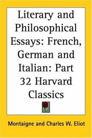 Cover of: Literary and Philosophical Essays | Michel de Montaigne