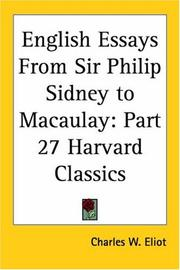Cover of: English Essays From Sir Philip Sidney to Macaulay | Charles W. Eliot