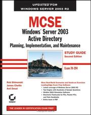 Cover of: MCSE: Windows Server 2003 Active Directory Planning, Implementation, and Maintenance Study Guide | James Chellis