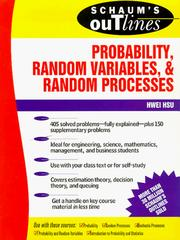 Cover of: Schaum's Outline of Probability, Random Variables, and Random Processes by Hwei Hsu