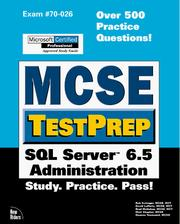 Cover of: McSe Testprep SQL Server 6.5 Administration (Mcse Testprep Series) by Sean Baird
