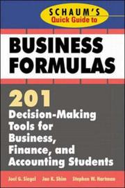 Cover of: Schaum's Quick Guide to Business Formulas | Jae K. Shim