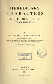 Cover of: Hereditary characters and their modes of transmission | Walker, Charles Edward.