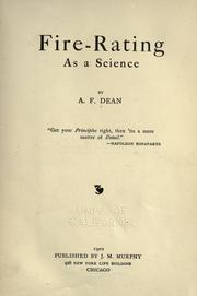 Cover of: Fire-rating as a science | A. F. Dean