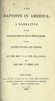 Cover of: The Baptists in America by Cox, F. A.