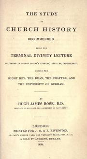 Cover of: The study of church history recommended by Rose, Hugh James
