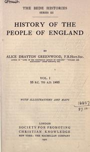 Cover of: History of the people of England | Alice Drayton Greenwood