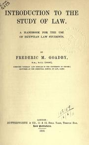 Cover of: Introduction to the study of law by Frederic Maurice Goadby