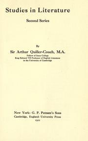 Cover of: Studies in literature by Sir Arthur Thomas Quiller-Couch