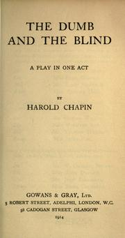 Cover of: The dumb and the blind by Harold Chapin