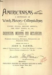Cover of: Americanisms, old & new by Farmer, John Stephen