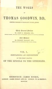 Cover of: The works of Thomas Goodwin by Goodwin, Thomas