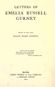Cover of: Letters of Emelia Russell Gurney | Ellen Mary Gurney