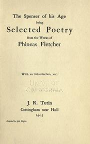 Cover of: The Spenser Of His Age | Phineas Fletcher