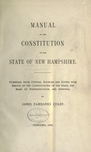 Cover of: Manual of the constitution of the state of New Hampshire by James Fairbanks Colby