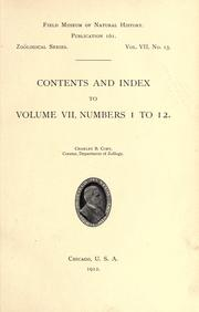 Cover of: Contents and index to volume 7, numbers 1 to 12, Zoological series by Field Museum of Natural History.