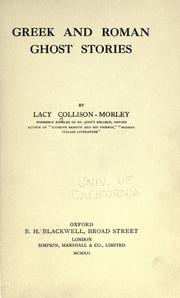 Cover of: Greek and Roman ghost stories | Lacy Collison-Morley