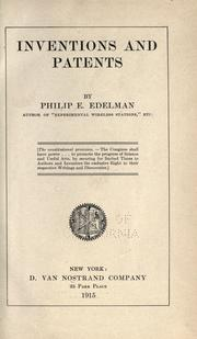 Cover of: Inventions and patents | Philip E. Edelman