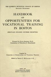 Cover of: Handbook of opportunities for vocational training in Boston | Women's Municipal League of Boston. Education Dept.