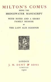 Cover of: Comus by John Milton