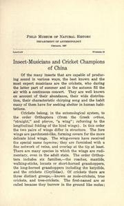 Cover of: Insect-musicians and cricket champions of China by Berthold Laufer