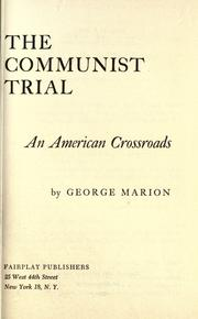 Cover of: The Communist Trial | George Marion
