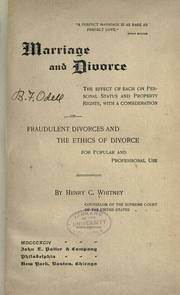 Cover of: Marriage and divorce by Henry Clay Whitney