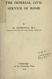 Cover of: The imperial civil service of Rome | Harold Mattingly