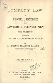 Cover of: Company law by Palmer, Francis Beaufort Sir