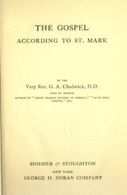 Cover of: The Gospel according to St. Mark by Chadwick, G. A.