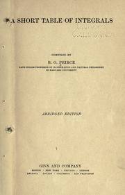 Cover of: A short table of integrals by B. O. Peirce