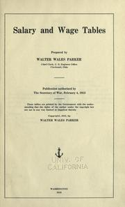 Cover of: Salary and wage tables | Walter Wales Parker