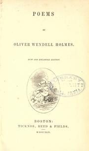 Cover of: Poems by Oliver Wendell Holmes, Sr.