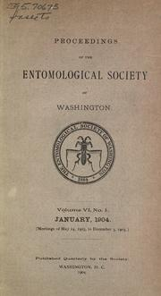 Cover of: Proceedings of the Entomological Society of Washington | Entomological Society of Washington