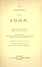 Cover of: The Gospel according to John | Johann Peter Lange