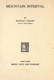 Cover of: Mountain interval by Robert Frost
