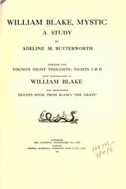 Cover of: William Blake, Mystic by Adeline M Butterworth