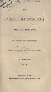 Cover of: The English martyrology | John Foxe