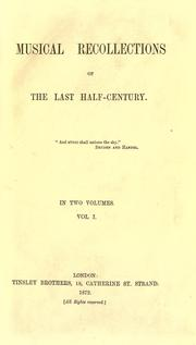 Cover of: Musical recollections of the last half-century by John Edmund Cox