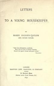 Cover of: Letters to a young housekeeper | Marie Hansen Taylor