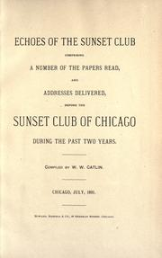 Cover of: Echoes of the Sunset club | Sunset club, Chicago.