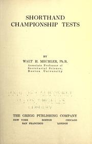Cover of: Shorthand championship tests | Walt H. Mechler