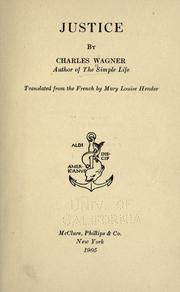 Cover of: Justice | Wagner, Charles