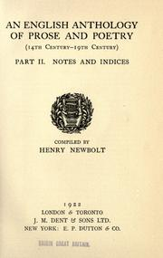 Cover of: An english anthology of prose and poetry (14th century - 19th century) | Newbolt, Henry John Sir