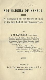 Cover of: Sri Harsha of Kanauj | K. M. Panikkar