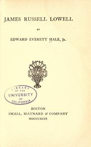 Cover of: James Russell Lowell by Edward Everett Hale, Jr.