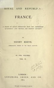 Cover of: Royal and republican France | Reeve, Henry